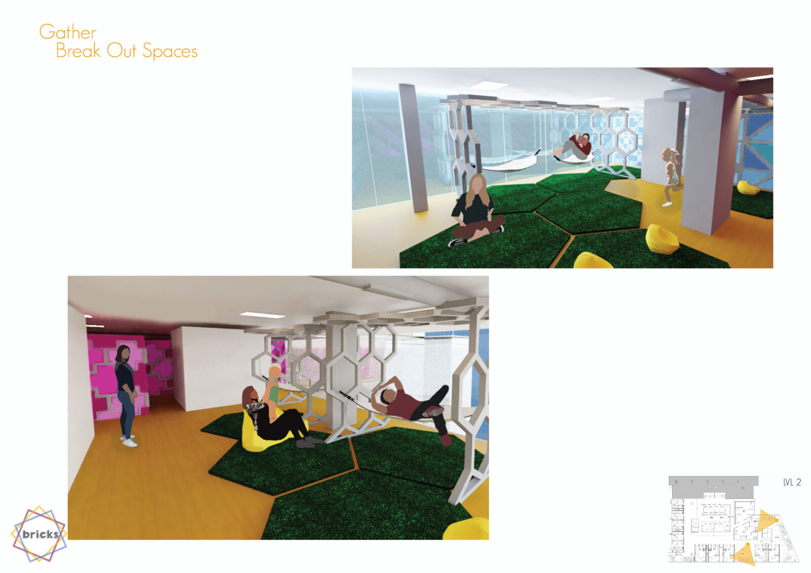 Image 1 - hexagonal astro-turf rugs on the floor, yellow beanbags scattered around. Two hammocks hang from a frame made up of repeating hexagons. Full height windows create the background. A teen is sitting on one of the rugs to the left, a lady is lying on a hammock reading a book and a young girl runs over.  Image 2 - hexagonal astro-turf rugs on the floor, yellow beanbags scattered around. Two hammocks hang from a frame made up of repeating hexagons. A mum with her baby sit and play on a bean bag. A dad is lying on the hammock closest to the camera. A lady walks by in the background. The wall in the background are a mosaic of pink and purple crosses.